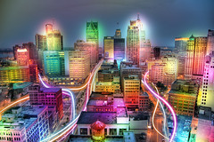Detroit City Lights (thisisbrianfisher) Tags: city color lines night flow glow bright streak d michigan brian flash detroit fisher swirl motor motorcity bfish brianfisher thisisbrianfisher