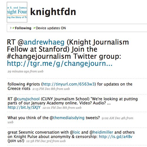 Twitter: @knightfdn updates this week