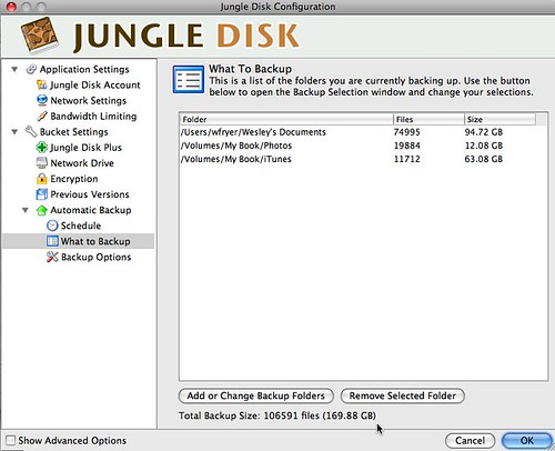 Jungle Disk Configuration - My Backups