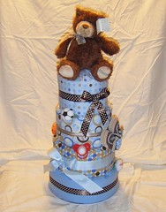 Diaper Cake 002 (Dougie_G.) Tags: bear blue baby brown cake toys hawaii ribbons teddy crafts nappy gift blankets diapers babyshower pacifier receiving diapercake nappycake