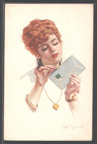 Simonetti Redheaded woman tensely opens a love letter by you.
