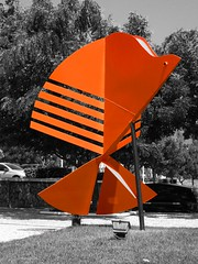 Peixe (Arimm) Tags: sculpture orange white fish black tree freeassociation grass car fotosencadenadas brasil pavement vivid fs3 arimm
