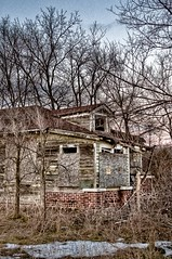 12 step confession (Jeff Engelhardt) Tags: old trees winter red house brick abandoned broken weather barn contrast neglected rusty tired worn weathered lonely shack aged muted