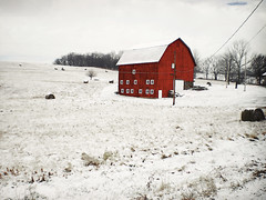 Red Barn I .Landscape (Nellie Vin) Tags: trees winter snow color field weather landscape pennsylvania country hayrolls redbarn quakerstate bradfordcounty