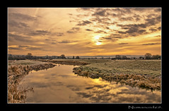 River Frome. (numanoid69) Tags: uk england cold ice water sunrise reflections river landscape dawn frost freezing calm gloucestershire daybreak riverfrome whitminster nikond300