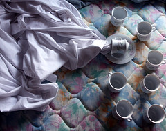 slightly spilt (101/365) (alexis mire) Tags: white tea sheets cups spill mattress spilt ohhelloteapartygonearye