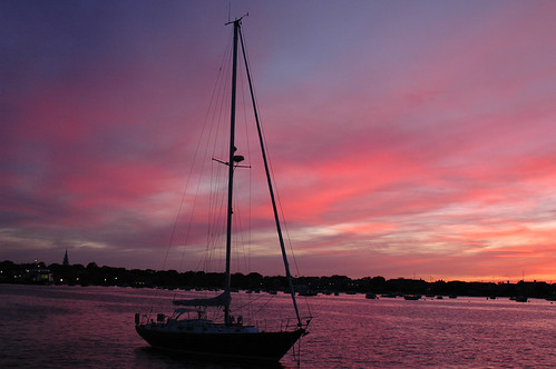 Sailboat moored in Nantucket at Sunset