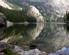 Clear Lake reflections (Walks On Rocks) Tags: lake mountains nature rockies hiking hike nationalforest alpine clearlake wyoming wilderness bridger windriverrange inflatableboat packraft