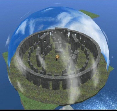 Holodeck rezzed as Stonehenge on Learn 4 Life Island