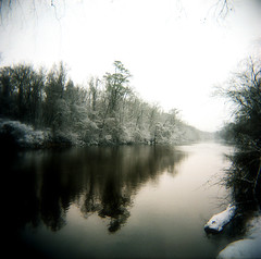 (beebo wallace) Tags: snow 120 film nature water weather square holga kodak ghey portra flickrblog holga120n kodakportra400nc greenvillenc tarriver infinestyle