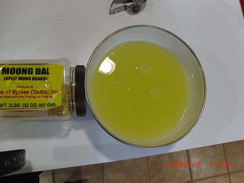 Rinse water from yellow dal purchased at Indian store