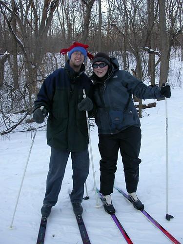 mid-skiing