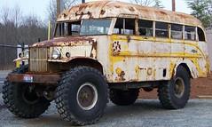 Monster school bus (Dave* Seven One) Tags: monstertruckcshoolbus vintage rusty 4x4 schoolbus bus restoration project junk rust classic dodge chevrolet 4x4bus