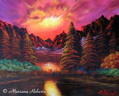 Supernova Sky (fairytwinkle60) Tags: pink blue trees light sunset red summer sky orange plants white lake black mountains reflection green art love nature water colors beauty grass sunshine yellow clouds sunrise river painting landscape fire scenery artist glow escape purple surrealism branches magic dream magenta surreal christmastree flame fantasy supernova pinksky bushes dreamland shrubs enchantment oilpainting enchanted dreamscape sunreflection oilpaint surrealart mountainrange brightsky rainbowsky colorfulsky beautifulplace redmountains magentasky dreamyart artistmarianaroberts supernovasky colorfulbushes
