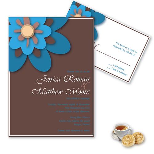 Julie Wedding Invitation and RSVP set, Blue flower wedding invitation, wedding invitation idea, wedding invitation, flowers, photos