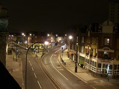 Goldsmiths from the kitchen by night