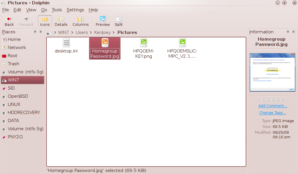 Dolphin File Manager in Pardus Linux