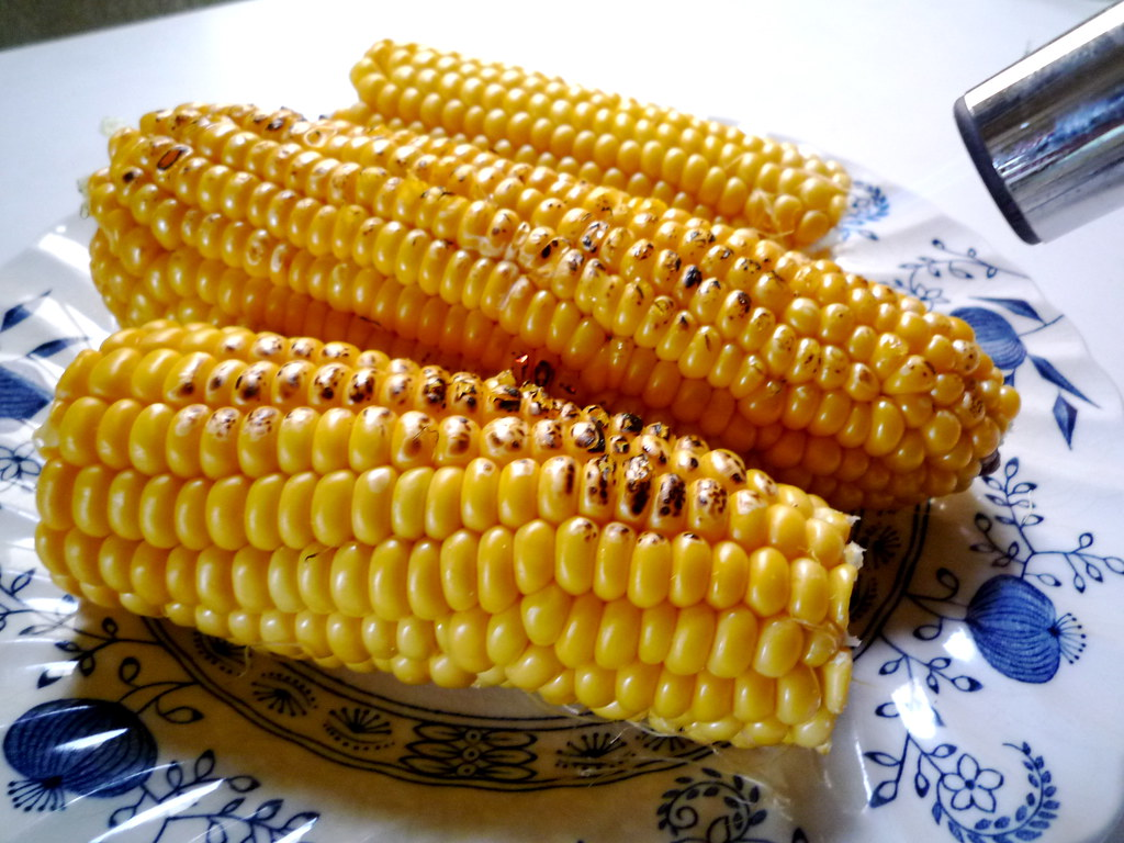 Corn with blowtorch