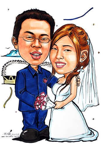 couple caricatures wedding 160208