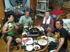 Taka, Kawaguchi-san, sashimi chef, and friend