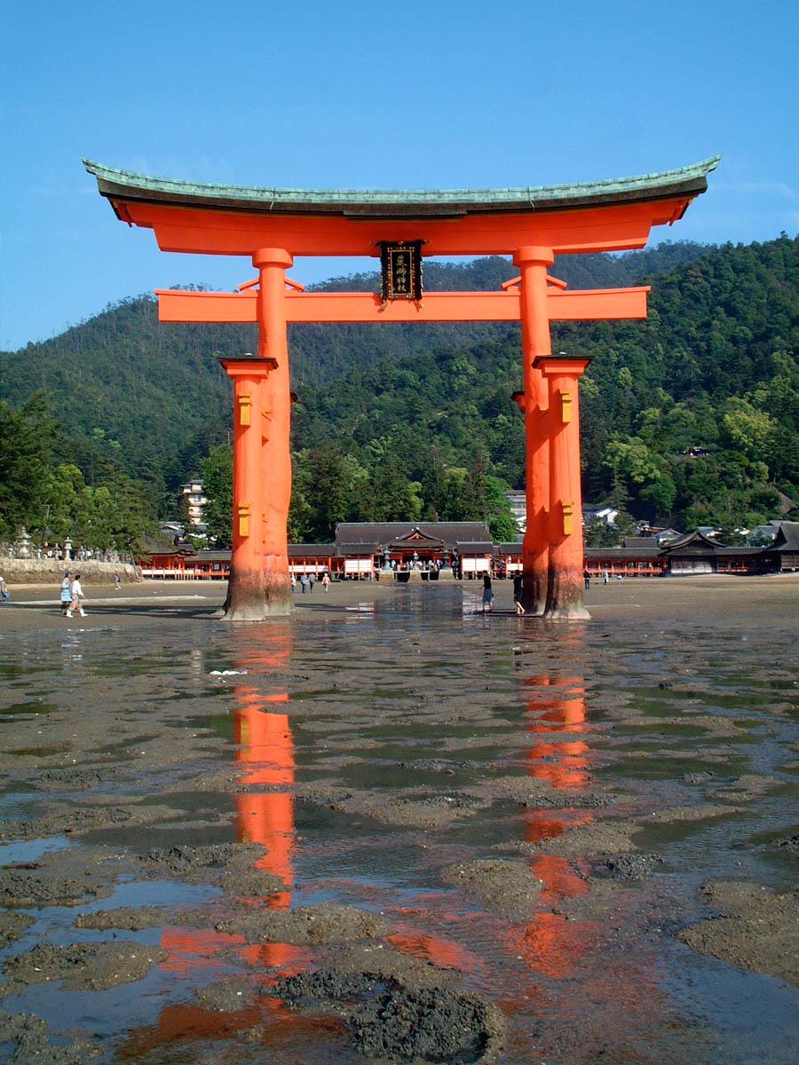 Floating Torii at low tide, Itsukushima Shrine, Miyajima Island, Japan