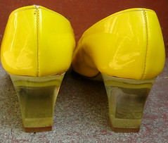 vintage yellow patent lucite heel shoes