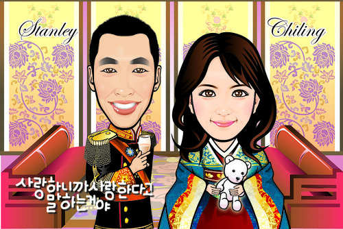 Q Digital Caricature Korea Theme Drawing