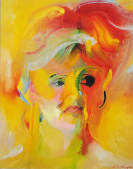 Julie Walters OBE, CBE (1993) by Stephen B Whatley (Stephen B Whatley) Tags: uk red portrait orange cinema art television yellow painting star artist harrypotter actress expressionism movies british billyelliot joeorton juliewalters stephenbwhatley