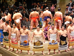sumo fighters entering  the ring - Tokyo Ryogoku (Ginas Pics) Tags: people woman man color men japan religious tokyo interestingness interesting colorful fighter god martialart wrestling religion vivid holy sacred gods nippon sumo spiritual extraordinary basho yokozuna fatman ryogoku madeinjapan exceptional travelphotography  fatmen ginaspics bigmen explored mywinners holypics takamizakari wwwginaspicsnet sumofighters
