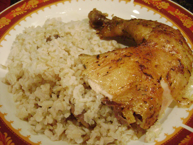 ginger ale chicken with brown rice and gravy