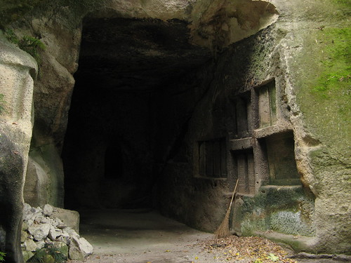 Caves carved into rock