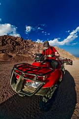 Safari in Desert (Eugene Pilat) Tags: blue sky desert fisheye safari riding quadricycle fotocompetition fotocompetitionbronze