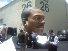 Giant scary Eddie Murphy head (Peggy Archer) Tags: california losangeles scary head cellphone evil 2008 paramount eddiemurphy