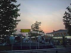 A summer evening on the Midway at the Kiddieland Amusement Park. Melrose Park Illinois. June 2007.