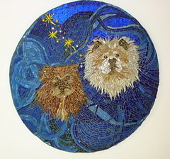 Dog Portrait Commission (MysticMosaics) Tags: dogs animals mosaic tinkerbell mickeymouse chows fairydust grout wallhanging glassmosaic dogportraits dogfaces stainedglassmosaic dogportraitcommission dogmosaics animalmosaics