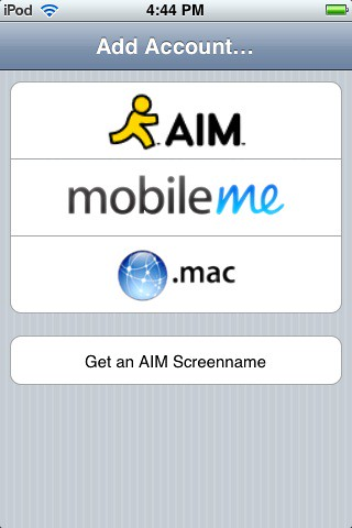 AIM app on iPod Touch