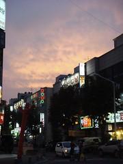 Our Neighbouring Street (simonandmartina) Tags: sky clouds buildings lights korea gloaming bucheon