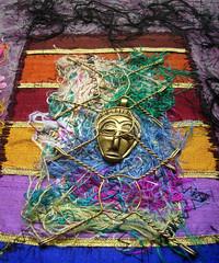 Detail Let them talk 4 (Karen Cattoire) Tags: original art colorful handmade embroidery originalart creation fabric fiberart beading textileart tissu abstrait textiledart karencattoire fibretextile arttexilte