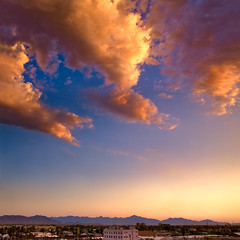 Good Things Come In Threes (jimhankey) Tags: sunset red summer arizona sky cloud building phoenix weather yellow skyline gold downtown desert parkinggarage dusk scenic naturallight citylights vista photomerge 2008 beautifulview desertview cirrus eveninglight phoenixarizona beautifulscenery phoenixaz phonix scenicview maricopacounty nikond200 phoenixskyline weatherphotography dearflickrfriend jimhankey arizonasummer arizonaweather phoenixweather chaseballfield phoenixariz phoenixdiamondbacks