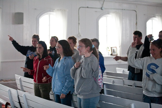 Singing at the Moravian Church in Hopedale, Nunatsiavut