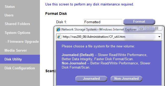 Linksys NAS200 disk format