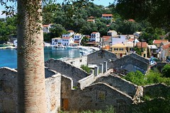 Harbour and old factory, Paxos island (Marite2007) Tags: old travel sea chimney color colour building water architecture outdoors greek islands coast scenery mediterranean factory exterior ruin villages greece coastal coastline daytime aged picturesque ports scenics paxos ionian