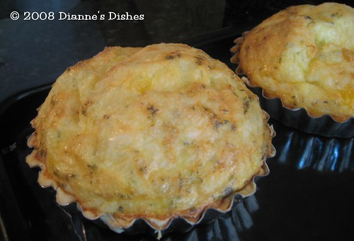 Mini Double Cheese Quiche: Baked