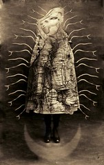 Our Blessed Mother (Jeffrey Harp) Tags: rabbit art sepia digital print mouse photography photo 3d cabinet surrealism victorian surreal card cdv giraffe steampunk photomanipultion