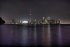 Toronto Skyline from Centre Island (DaftM3) Tags: city travel urban toronto ontario canada skyline night skyscraper cntower skydome nightscene hdr rogerscentre