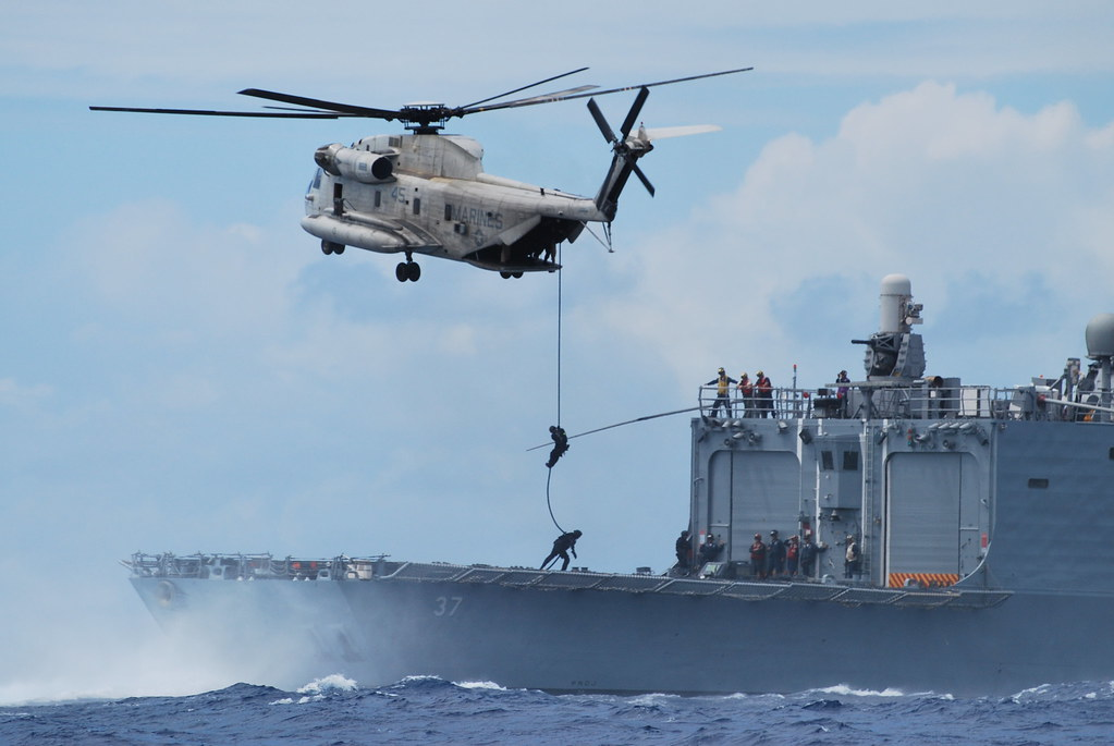 Coast Guard MSST Conducts Vertical Insertion from USMC Helicopter