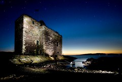 A flash in the dark (gms) Tags: uk longexposure sunset castle night dark stars scotland weird flash ayrshire portencross portencrosscastle strobist atleastithinkitsstrobist