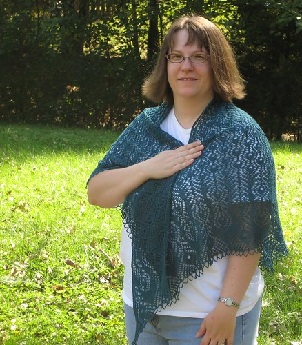 PF shawl modeled front