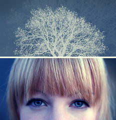 Growing thoughts (mister sullivan) Tags: blue portrait tree eyes diptych bokeh head branches like fringe brain thoughts newport blonde growing bangs gwent invert casnewydd