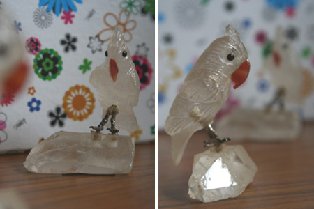 A001 and A002 - White with orange beak set on clear crystal